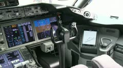Boeing 787 Cockpit Pan Stock Footage