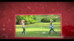 Montage of family outdoors clips on cellular background - stock footage