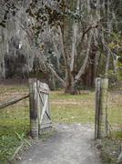 Open wooden gate Stock Photos