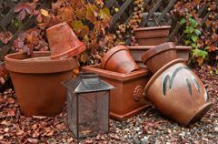 garden pots in fall - stock photo