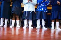 Kids in Socks Stock Photos