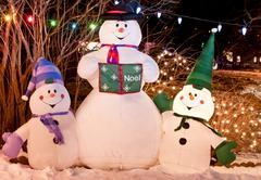 snowman trio - stock photo