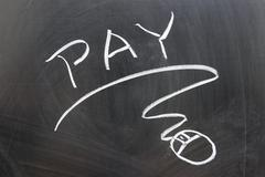 Stock Photo of pay word and mouse sign