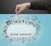 Stock Illustration of hand pulls social network