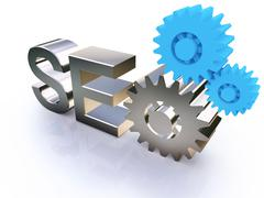 seo - search engine symbol with gears - stock illustration