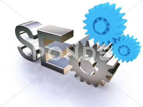Stock Illustration of seo - search engine symbol with gears