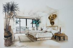 Stock Illustration of graphic sketch an bedroom