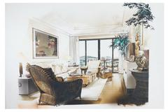 Stock Illustration of sketch of an interior living room