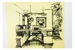 Stock Illustration of graphic sketch an study room