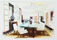 Simple sketch of an interior design of a dining room Stock Illustration