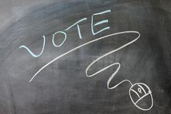 vote and mouse symbol - stock photo