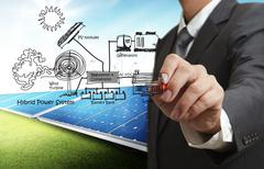 Engineer draws hybrid power system,combine multiple sources diagram Stock Illustration