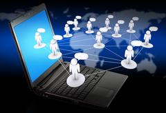 Stock Illustration of laptop as social networking concept