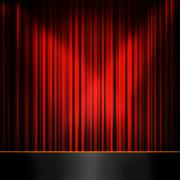 red curtain room - stock illustration