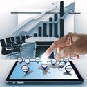 Hand point business success icon with tablet computer Stock Illustration