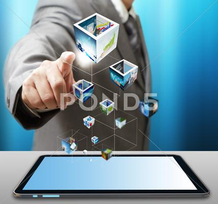 Stock Illustration of business man use tablet computer streaming images