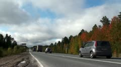 View of the highway in Siberia, Russia Stock Footage