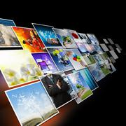 visual communication and streaming images concept - stock illustration