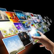 hand reaching images streaming as internet concept - stock illustration