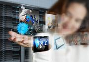 Stock Illustration of businesswoman shows streaming images and server room background