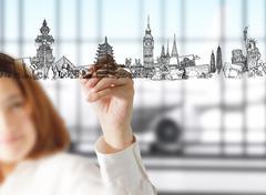 Stock Illustration of female hand draws dream travel