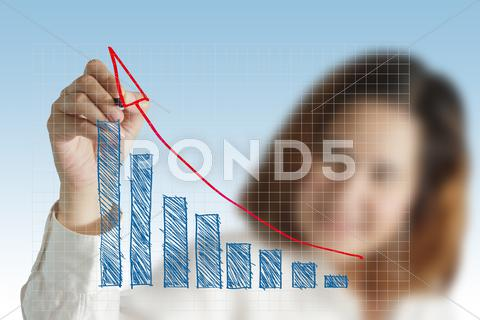 Stock Illustration of female hand drawing a chart of success business
