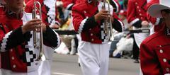 Red trombone players Stock Photos