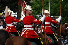 Stock Photo of red lancers riding in parade