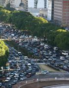 Rush hour traffic, twilight Stock Photos