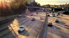 Freeway Rush Hour Traffic Sunset - stock footage