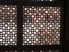 intricate marble filigree screen - stock photo