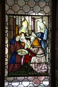 stained glass, circumcision of the baby jesus, - stock photo