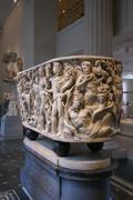 Roman sarcophagus with mythological scenes Stock Photos