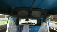 Timelapse in back of tuk tuk taxi Thailand - stock footage