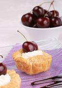 Small cherry tarts Stock Photos