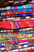 colorful handmade blankets - stock photo
