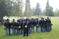 union infantry line firing a volley - stock photo