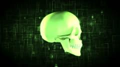 Revolving green skull on moving background - stock footage
