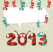 Cartoon creatures happy new year 2013 Stock Illustration