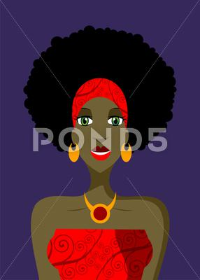 Stock Illustration of afro woman with green eyes illustration
