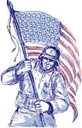 American soldier carrying flag Stock Illustration