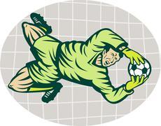 soccer football goalie keeper saving goal - stock illustration