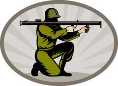 World war two soldier aiming bazooka side Stock Illustration