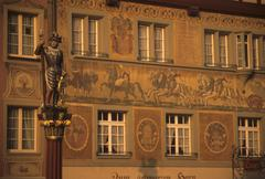 Frescos and statue in medieval style Stock Photos