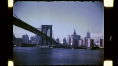 BROOKLYN BRIDGE NYC Pan Skyline 1940s Vintage Retro 16mm Film Home Movie 4765 - stock footage