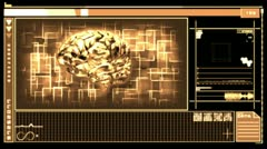Medical digital interface showing brain Stock Footage