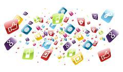 global mobile phone apps icons splash - stock illustration