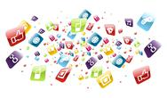 Global mobile phone apps icons splash Stock Illustration