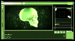 Medical digital interface showing skull - stock footage