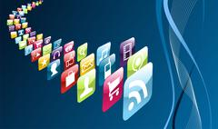 global mobile phone apps icons - stock illustration